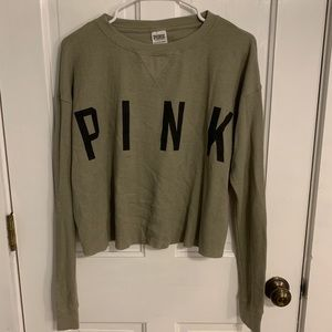 VS PINK Green Long Sleeve Waffle Knit Tee XS